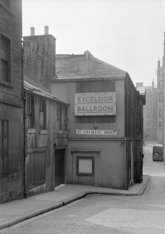 "General view of Niddry Street entrance with sign for ""Excelsior Ballroom"""