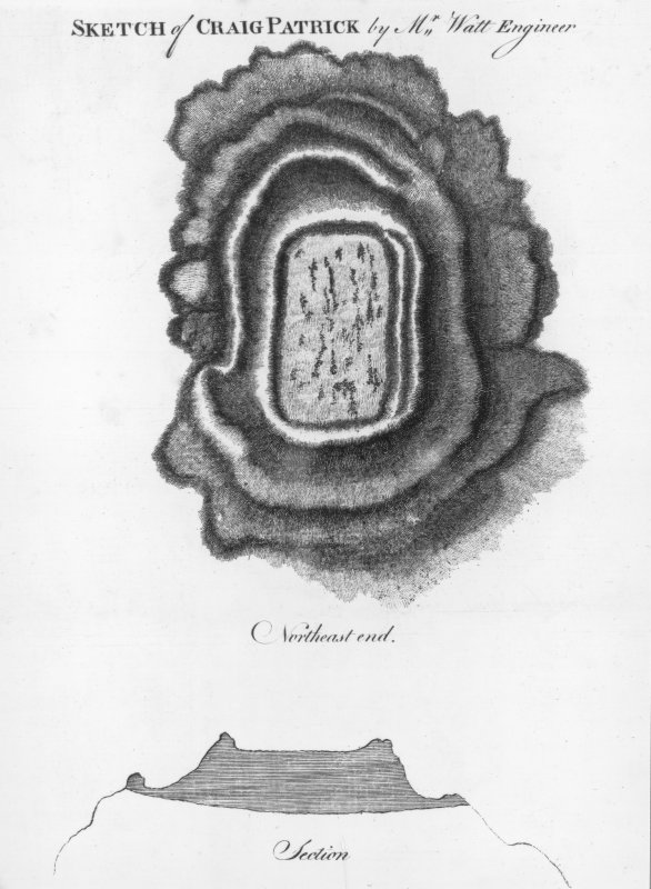 'Sketch of Craig Patrick by Mr Watt Engineer. Extract from Williams, J 1777 'An Account of some remarkable ancient ruins lately discovered in the highlands and the northern parts of Scotland. [photographic copy only]