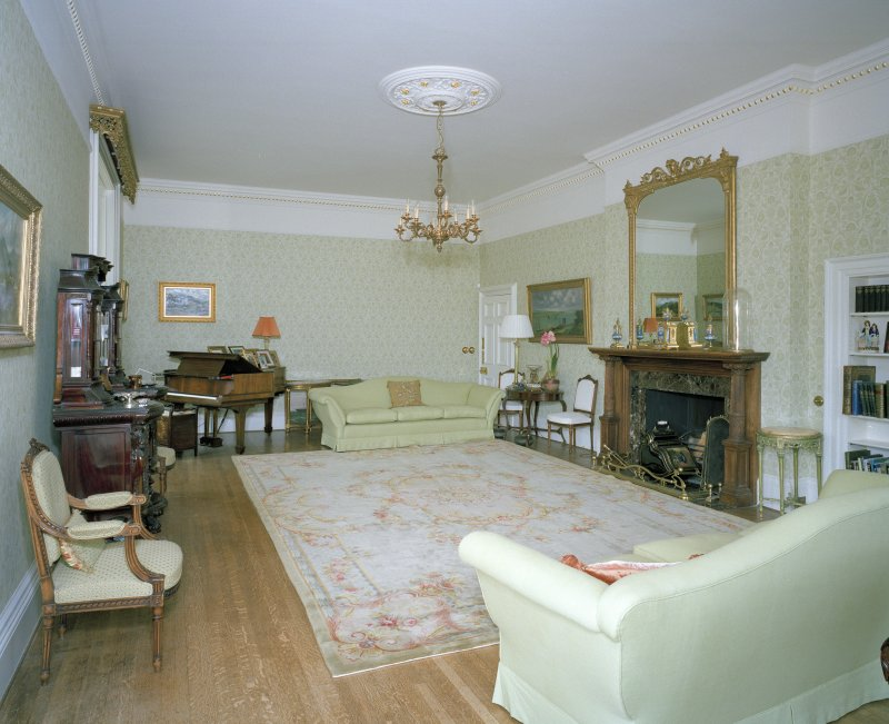 Interior. View of drawing room from SW