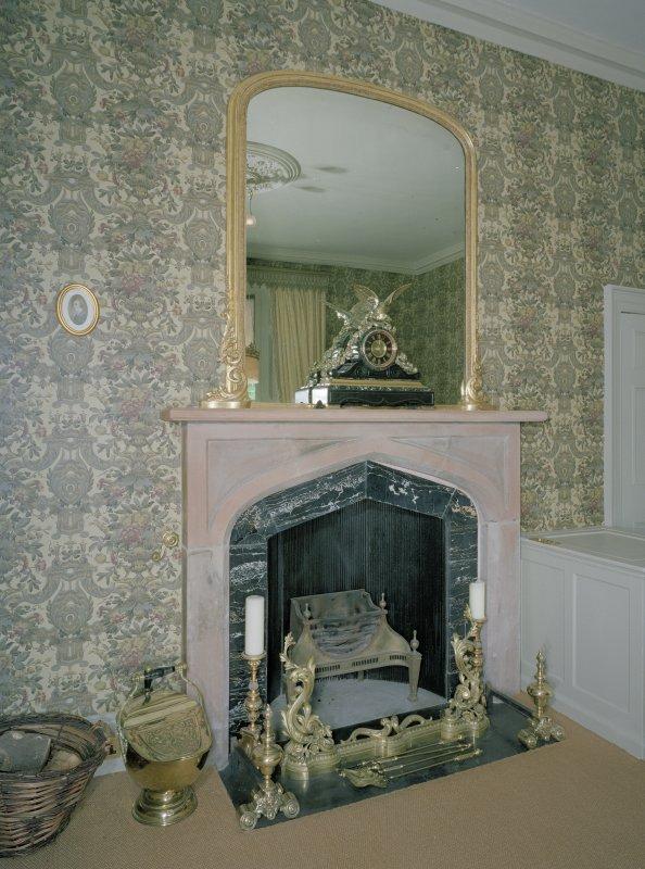 Interior. Detail of dining room fireplace