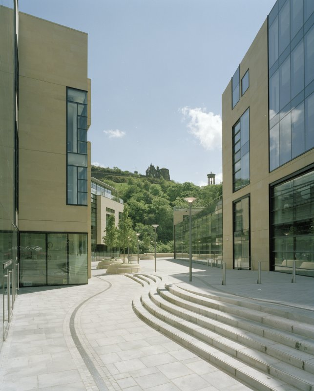 View of public space from NW