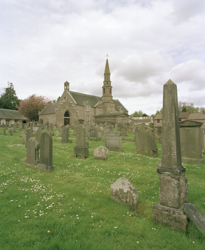 View of Church from graveyard from SW showing Aisle and Lynedoch Mausoleum