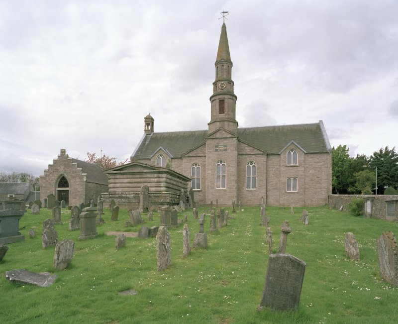 View of Church with tower and spire from SE showing Aisle and Lynedoch Mausoleum at left