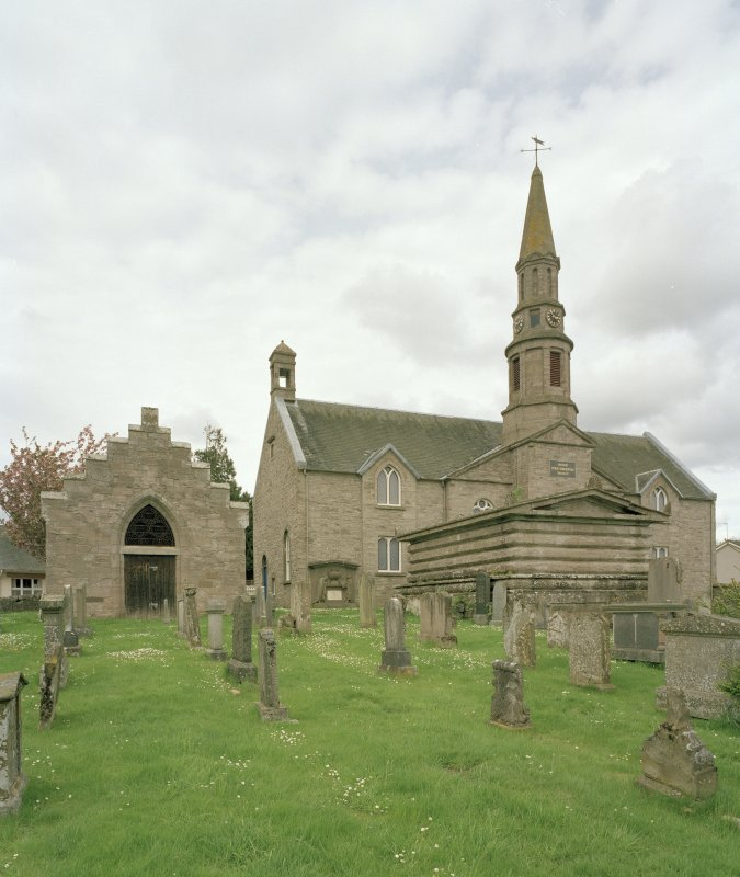 View of Church through burial ground from S showing Aisle and Lynedoch Mausoleum