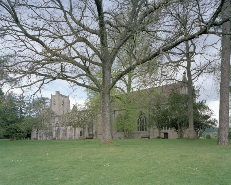 View of Cathedral and ruins of Cathedral from SSE through trees