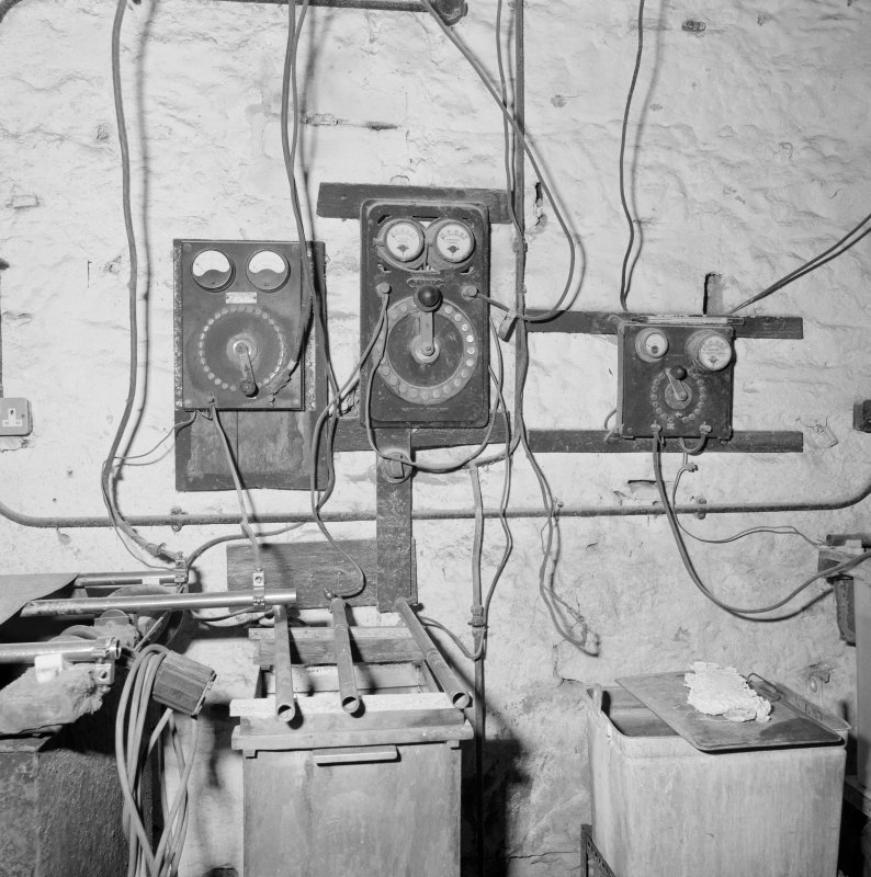 Interior. Lower ground floor. Workshop. Detail of control switches
