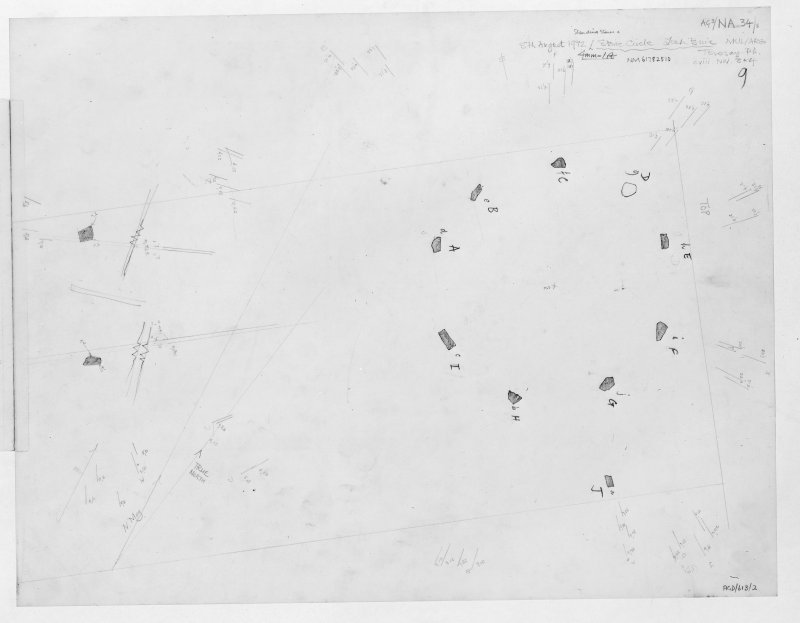 Survey drawing; Lochbuie stone circle and standing stones. Scan of photographic copy.