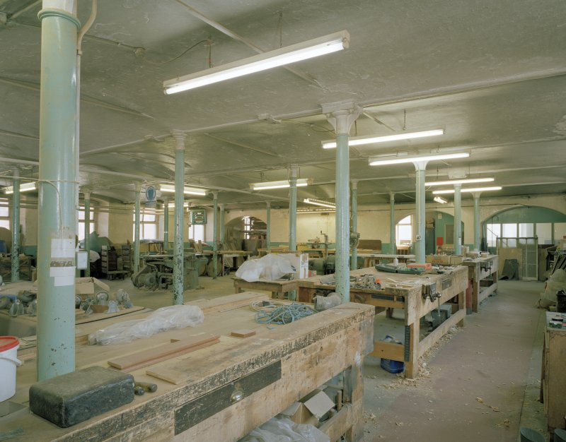 Interior. View of joiners shop from NW