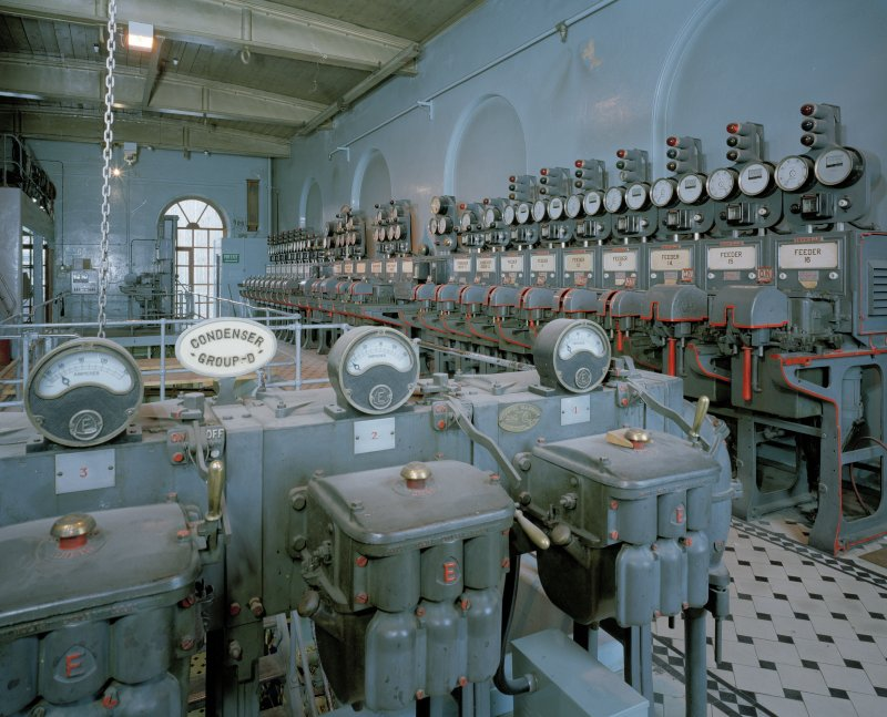 Interior of Broadford Works, Aberdeen. Upper level, detail of ampere dials with switchgear in background from S.