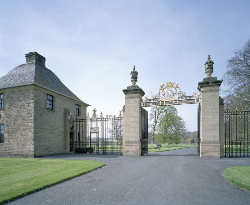 View of East Lodge and gates from E