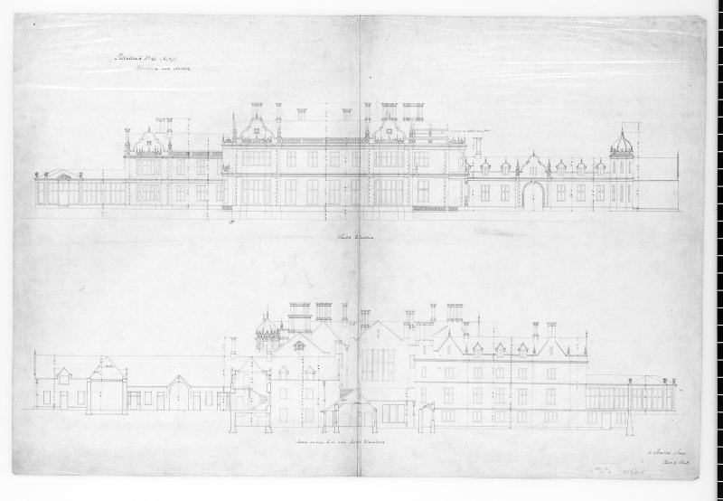 Argyll, Kilmartin, Poltalloch House. Photographic copy of elevations and sections.