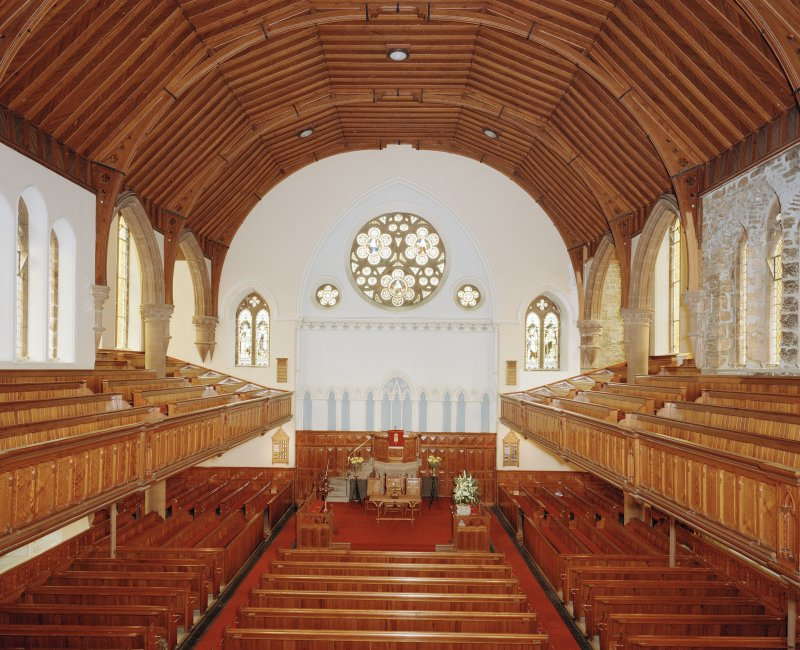 Interior. View from E from gallery showing pews and pulpit etc.