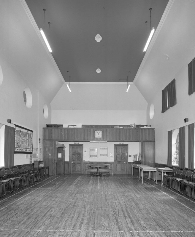 Interior. View of church hall from W showing gallery.