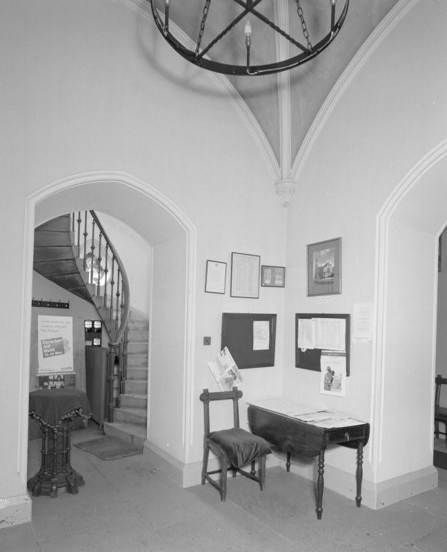 Interior. View of vaulted entrance lobby with gallery stair beyond.