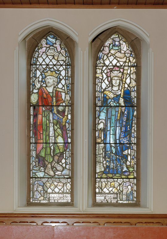 Interior. Detail of stained glass windows depicting David and Solomon by William Meikle & Sons 1924.