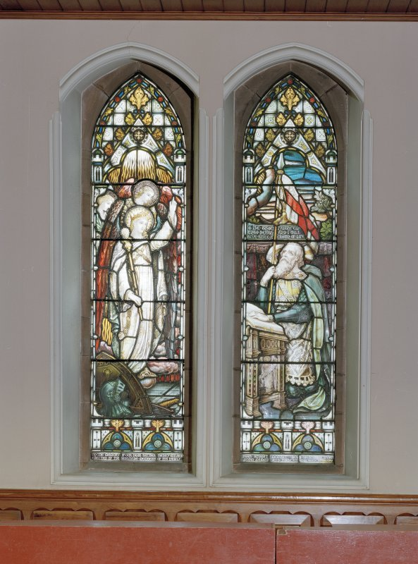 "Interior. Detail of stained glass windows depicting "" Be thou faithful unto death"" by Ballantine & Son 1897."