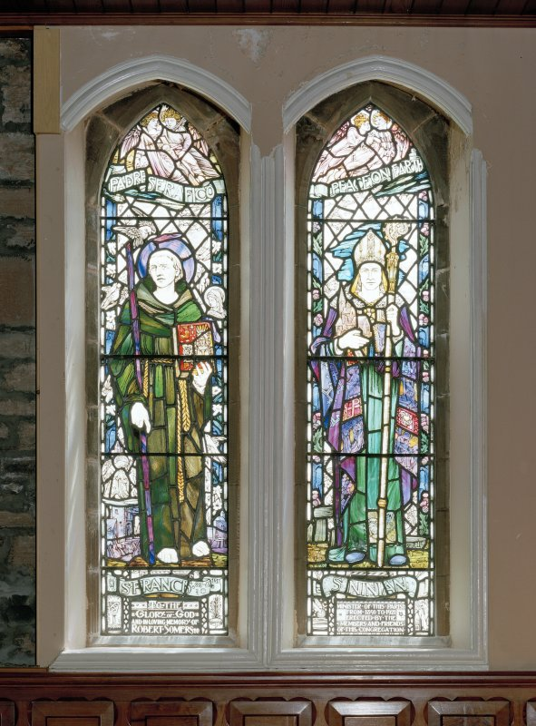 Interior. Detail of stained glass windows depicting St Francis of Assisi and St Ninian William Meikle & Sons 1923.