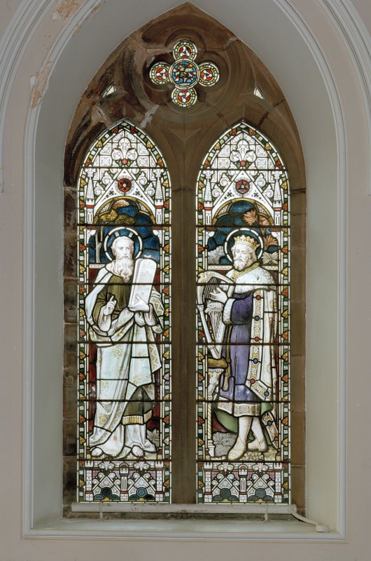 Interior. Detail of stained glass windows depicting Moses and David c.1900.