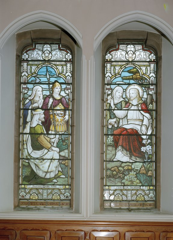 Interior. Detail of stained glass windows depicting Sermon on the mount by Ballantine 1901-1906.