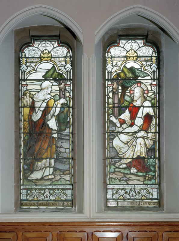 Interior. Detail of stained glass windows depicting Our Lord with the Samaritan woman by Ballantine 1901-1906.