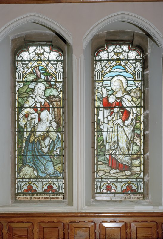 Interior. Detail of stained glass windows depicting Our Lord at the grave of Lazarus by Ballantine 1901-1906.