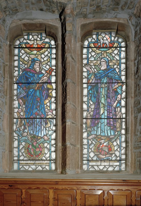Interior. Detail of stained glass windows depicting Moses and St Paul by Abbey Studio 1961.