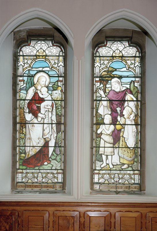 Interior. Detail of stained glass windows depicting Our Lord blessing the children by Ballantine 1901-1906.