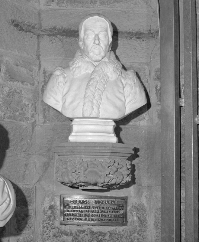 Interior. 2nd. floor, exhibition room, detail of bust of George Buchanan