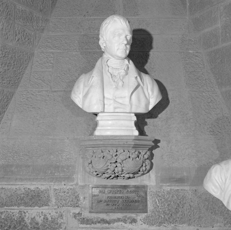 Interior. 2nd. floor, exhibition room, detail of bust of Sir Walter Scott