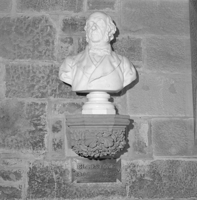 Interior. 2nd. floor, exhibition room, detail of bust of Gladstone