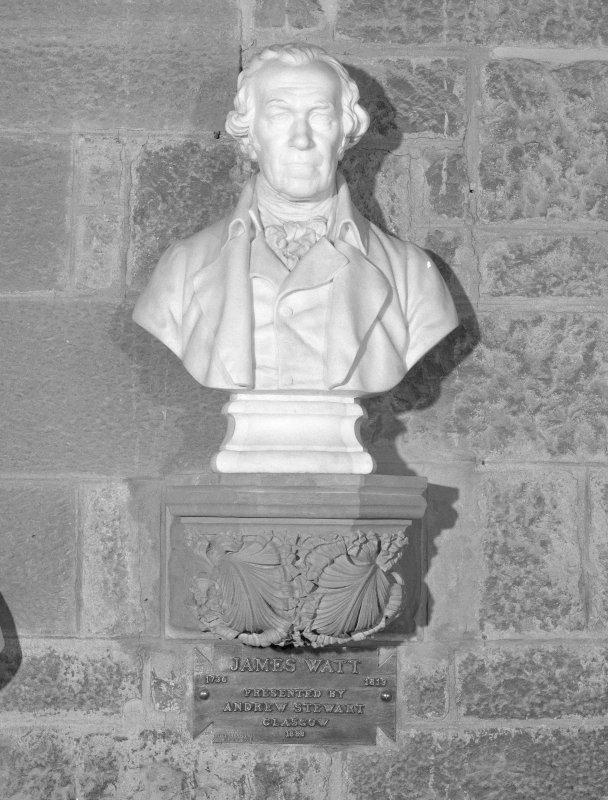 Interior. 2nd. floor, exhibition room, detail of bust of James Watt
