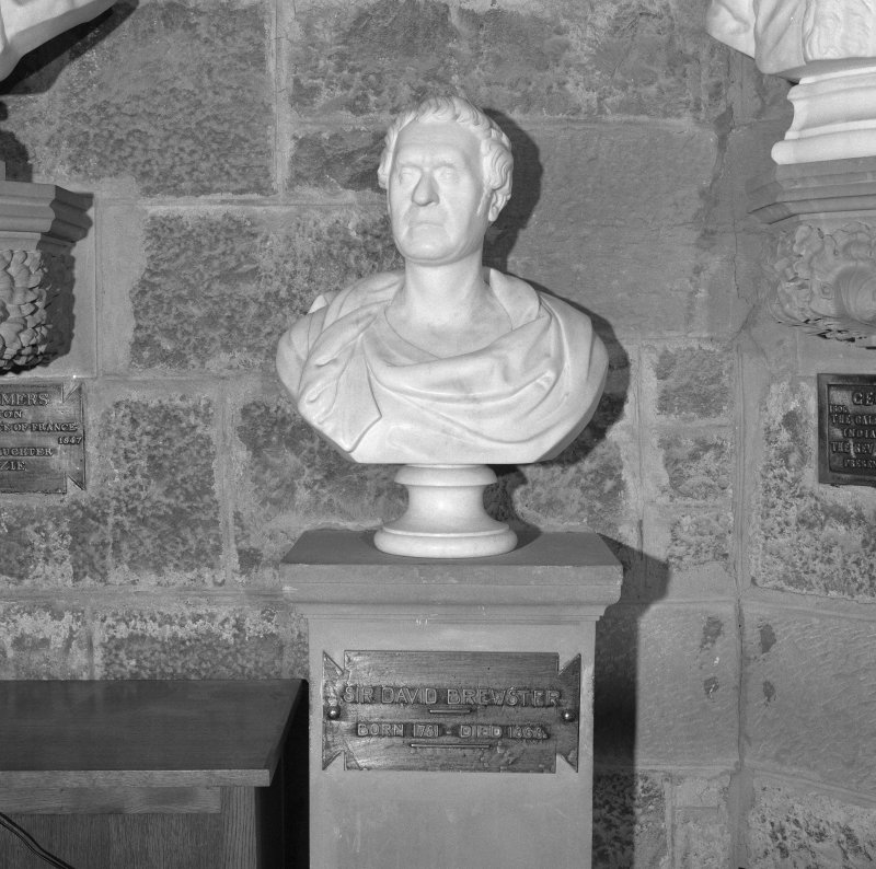Interior. 2nd. floor, exhibition room, detail of bust of Sir David Brewster