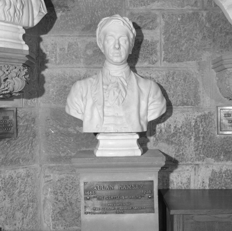 Interior. 2nd. floor, exhibition room, detail of bust of Allan Ramsay