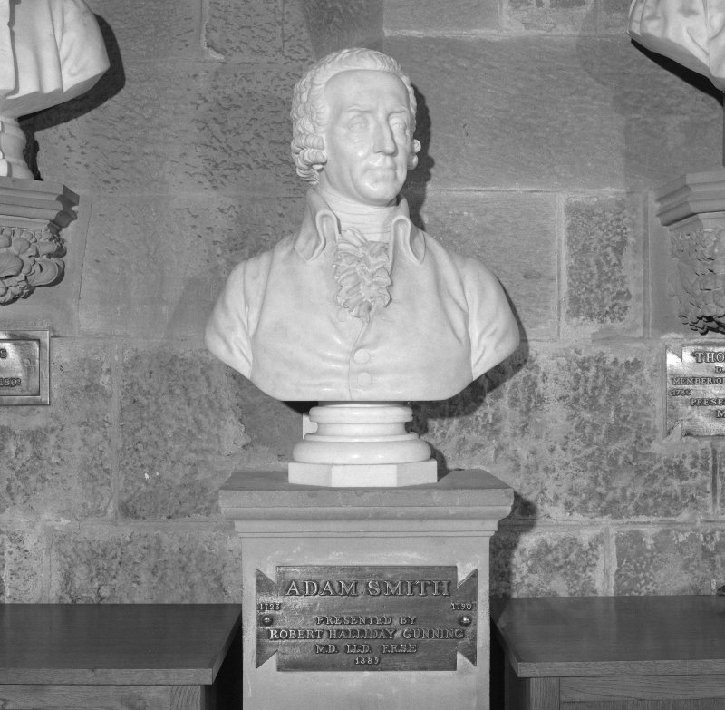 Interior. 2nd. floor, exhibition room, detail of bust of Adam Smith