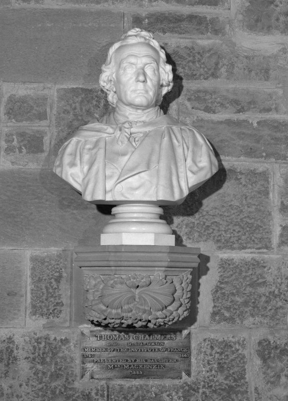Interior. 2nd. floor, exhibition room, detail of bust of Thomas Chalmers