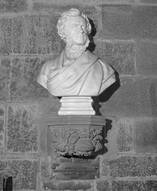 Interior. 2nd. floor, exhibition room, detail of bust of Hugh Miller