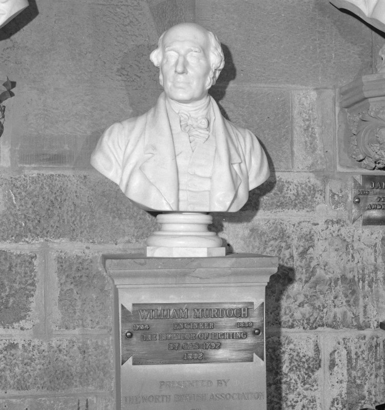 Interior. 2nd. floor, exhibition room, detail of bust of William Murdoch
