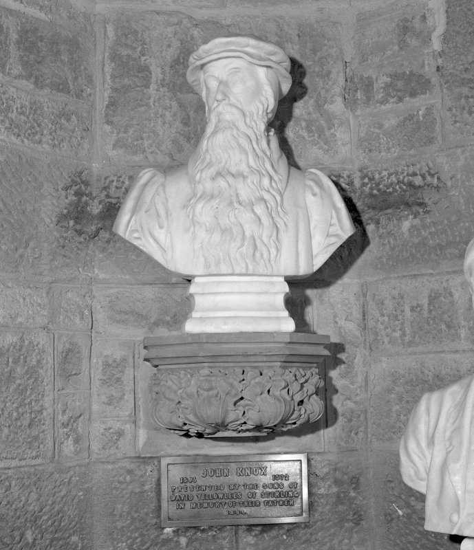 Interior. 2nd. floor, exhibition room, detail of bust of John Knox