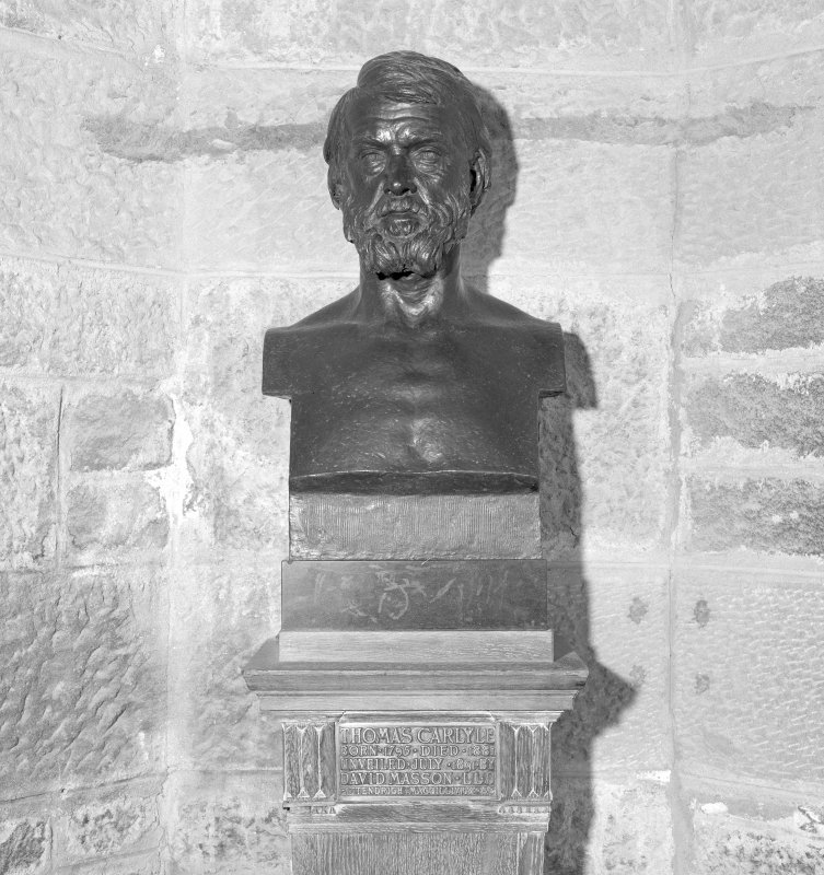 Interior. 2nd. floor, exhibition room, detail of bust of Thomas Carlyle