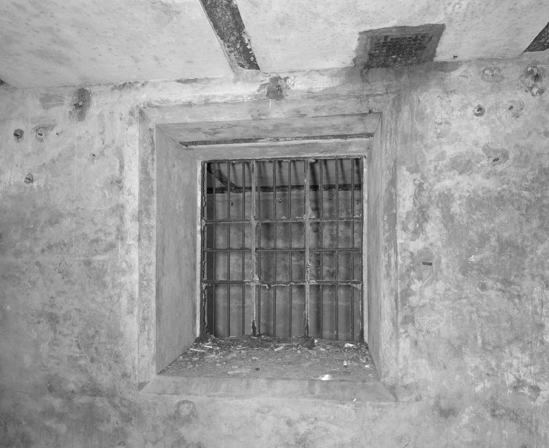Interior. Detail of window with bars