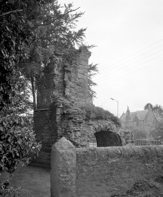 View of remains of abbey gatehouse from North