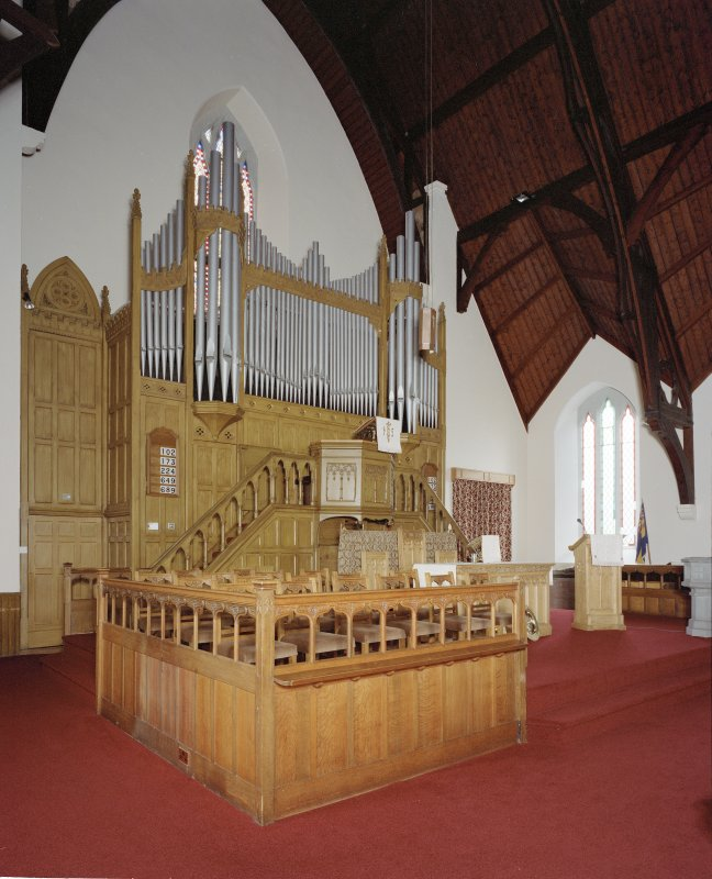 Interior, view of platform showing organ and pulpit