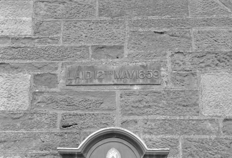 "Detail of datestone ""LAID 12th MAY 1859"""