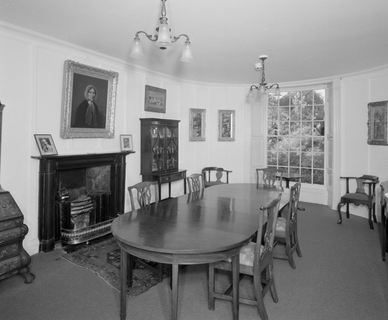 Interior, view of dining room from East showing black marble fireplace c.1820