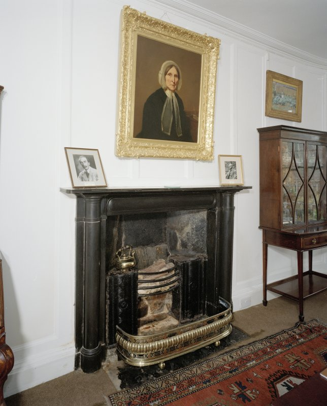 Interior, detail of dining room black marble fireplace c.1820