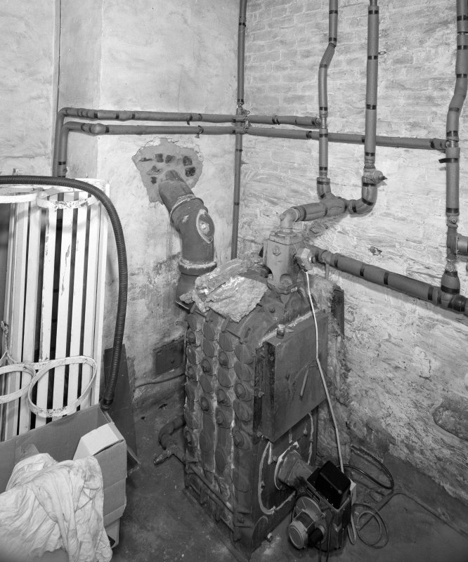 Interior, view of lower ground floor boiler room