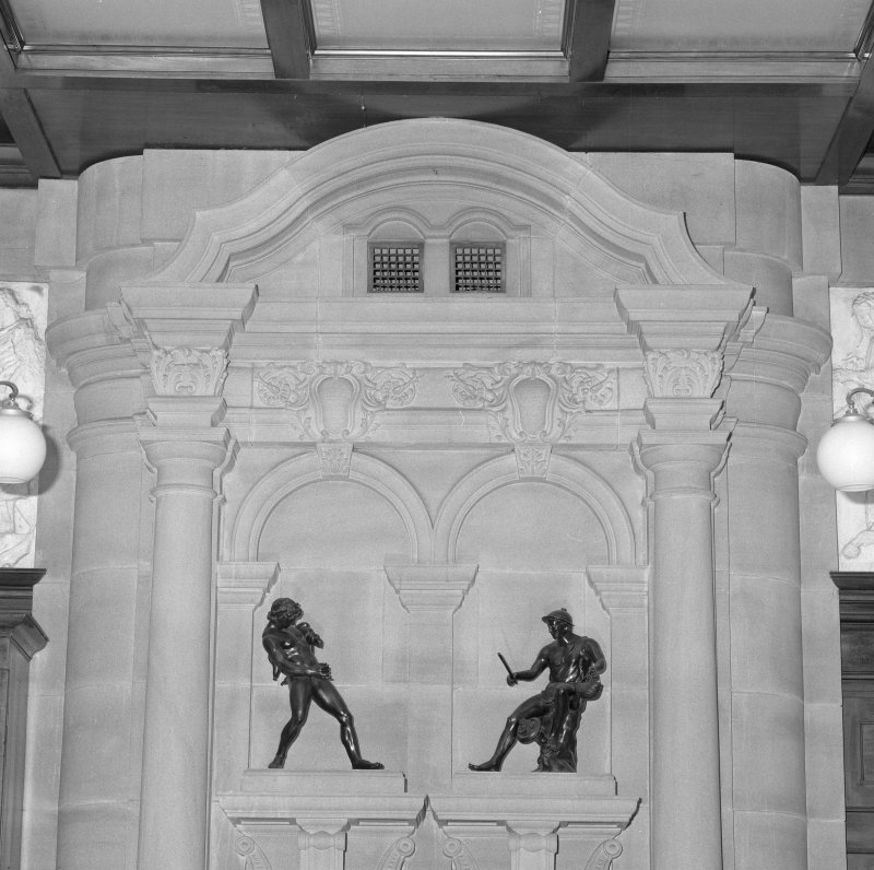 Interior, detail of gallery fireplace designed by Keppie with bronze figures
