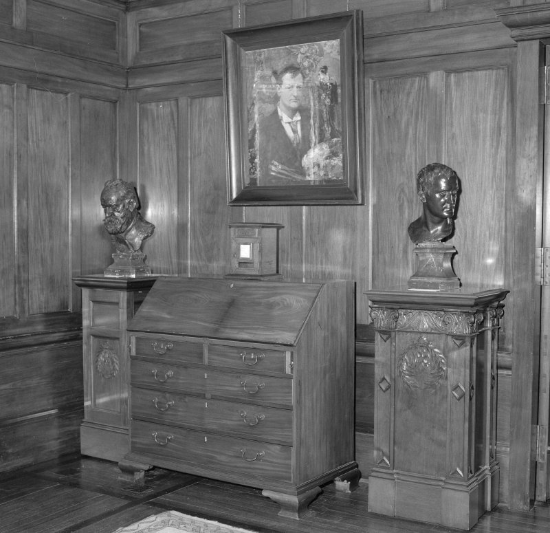 Interior, detail of gallery writing bureau and Hornel self portrait