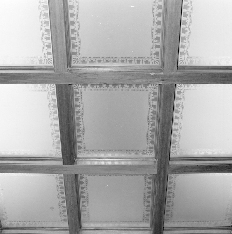 Interior, detail gallery ceiling showig etched glass lay-light