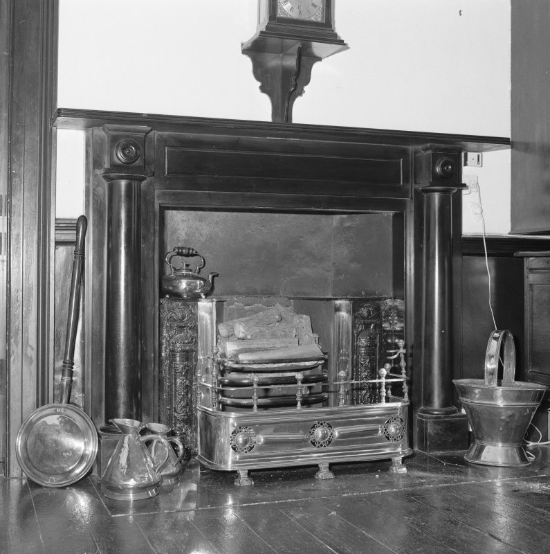 Interior, detail of hall black marble fireplace c.1820 with register grate